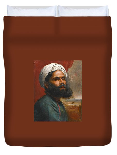 Duvet Cover featuring the painting Portrait Of An Indian Sardar by Edwin Frederick Holt