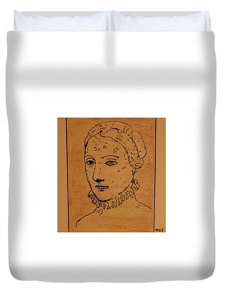 Duvet Cover featuring the drawing Portrait Of Anne by Bill OConnor
