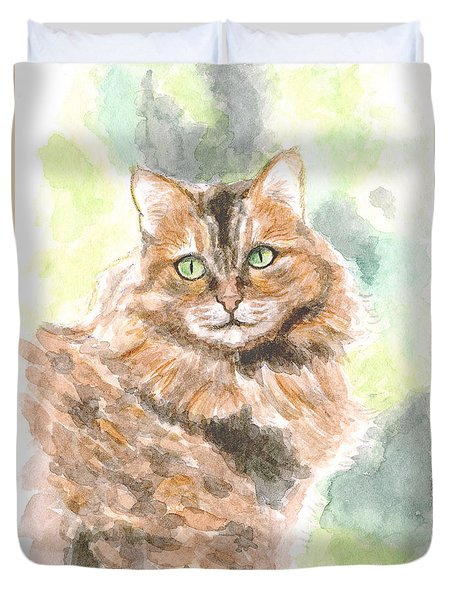 Duvet Cover featuring the painting Portrait Of Cat. by Raffaella Lunelli