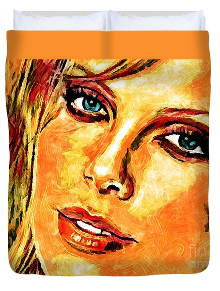 Portrait Of Charlize Theron Duvet Cover