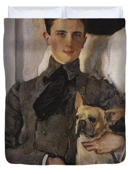 Portrait Of Count Felix Sumarokov - Elston Later Prince Yusupov With A Dog 1903 Valentin Serov Duvet Cover