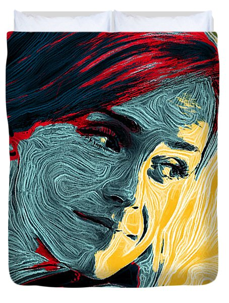 Portrait Of Emma Watson Duvet Cover by Zedi
