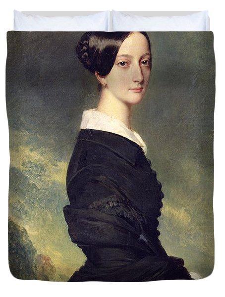 Portrait Of Francisca Caroline De Braganca Duvet Cover by Franz Xaver Winterhalter