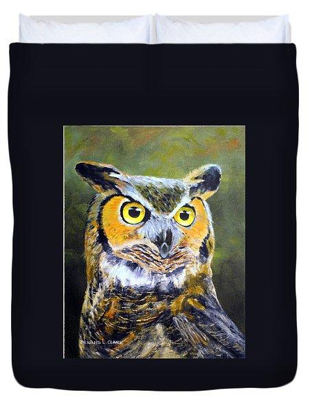 Portrait Of Great Horned Owl Duvet Cover by Dennis Clark