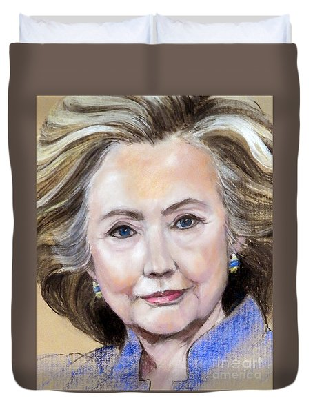 Pastel Portrait Of Hillary Clinton Duvet Cover
