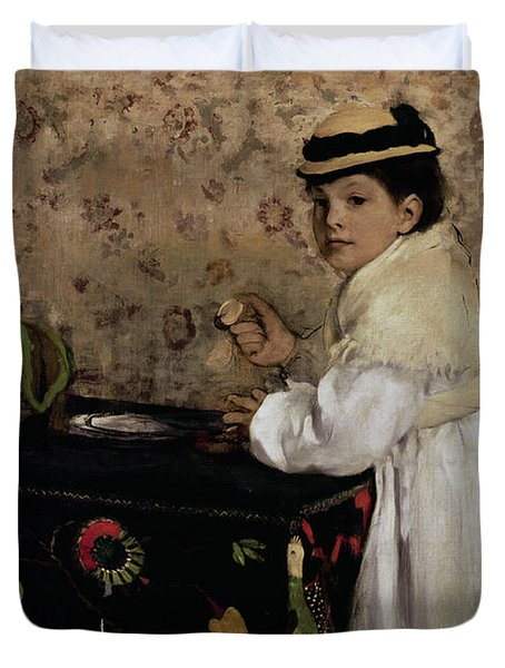 Portrait Of Hortense Valpincon As A Child Duvet Cover by Edgar Degas