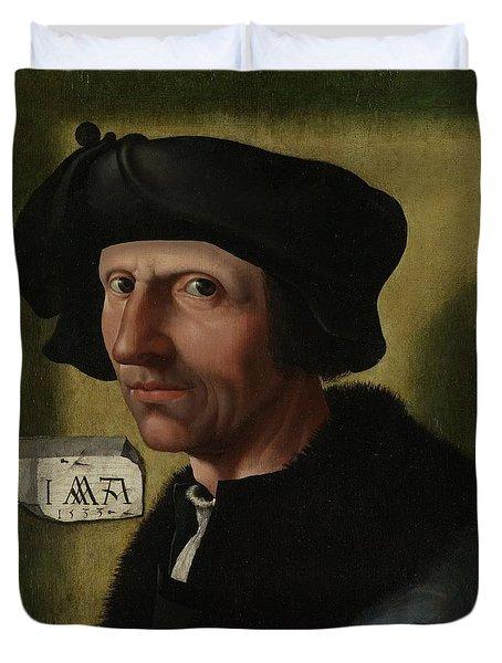Portrait Of Jacob Cornelisz Van Oostsanen Duvet Cover
