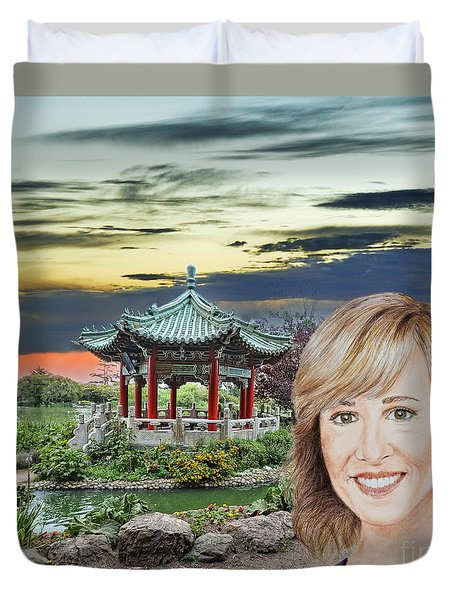 Portrait Of Jamie Colby By The Pagoda In Golden Gate Park Duvet Cover