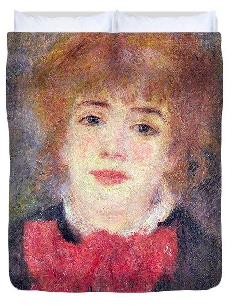 Portrait Of Jeanne Samary Duvet Cover by Renoir