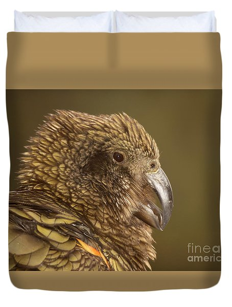 Duvet Cover featuring the photograph Portrait Of Kea Calling by Max Allen