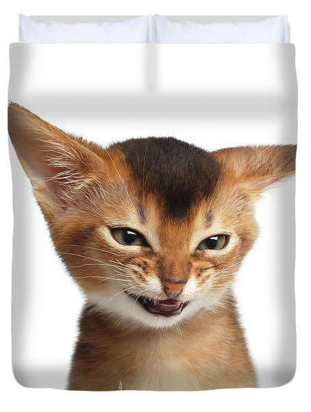 Portrait Of Kitten With Showing Middle Finger Duvet Cover