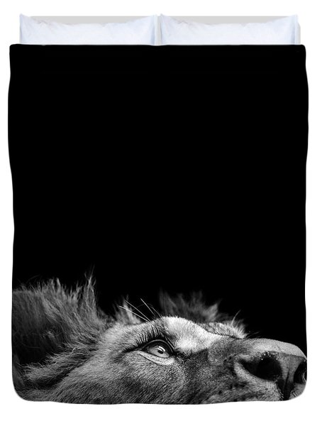 Portrait Of Lion In Black And White IIi Duvet Cover