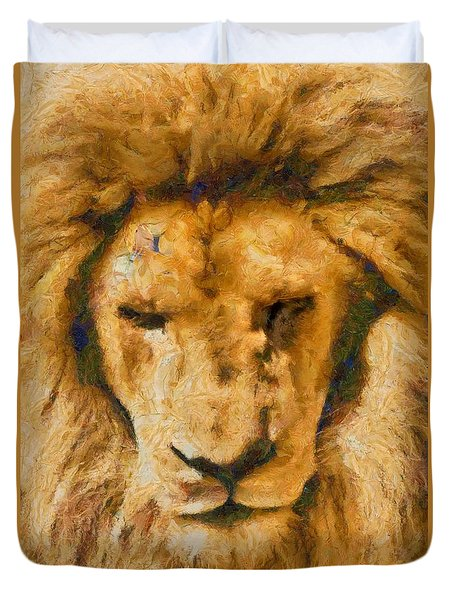 Duvet Cover featuring the photograph Portrait Of Lion by Scott Carruthers