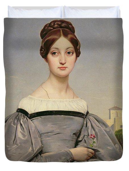 Portrait Of Louise Vernet Duvet Cover by Emile Jean Horace Vernet