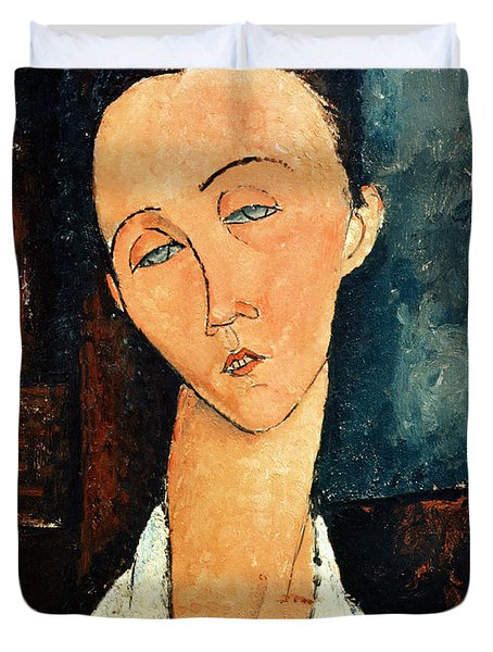 Portrait Of Lunia Czechowska Duvet Cover by Amedeo Modigliani