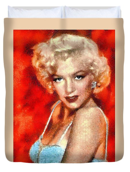 Duvet Cover featuring the digital art Portrait Of Marilyn Monroe by Charmaine Zoe