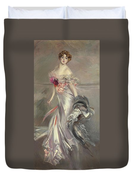 Portrait Of Marthe Regnier Duvet Cover by Giovanni Boldini