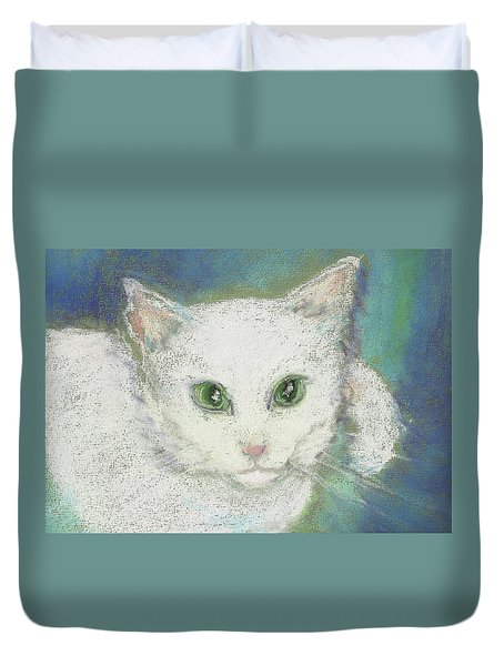 Duvet Cover featuring the drawing Portrait Of Misty by Denise Fulmer