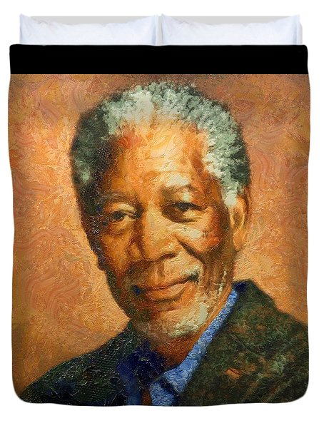 Portrait Of Morgan Freeman Duvet Cover