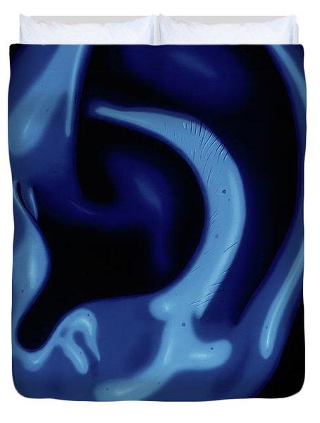Portrait Of My Ear In Blue Duvet Cover