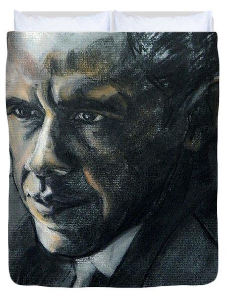 Charcoal Portrait Of President Obama Duvet Cover