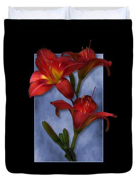 Portrait Of Red Lily Flowers Duvet Cover