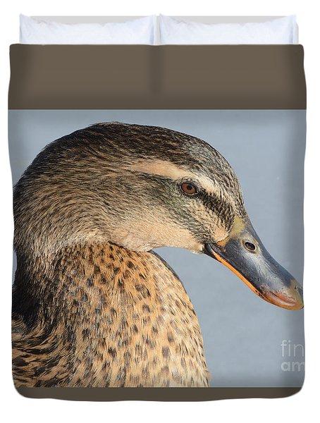 Portrait Of Rouen-mallard Mixed Breed Duck Hen Duvet Cover by Merrimon Crawford