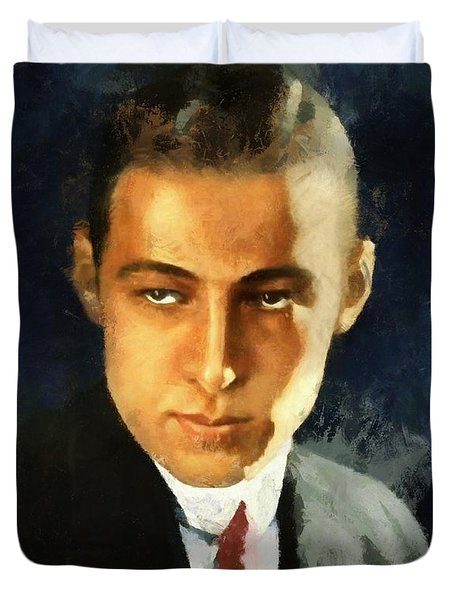 Portrait Of Rudolph Valentino Duvet Cover