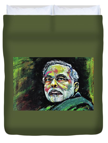 Portrait Of Shri Narendra Modi Duvet Cover