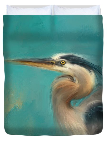Portrait Of The Heron Duvet Cover by Jai Johnson