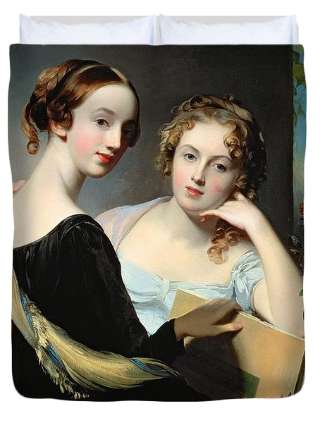 Portrait Of The Mceuen Sisters Duvet Cover by Thomas Sully