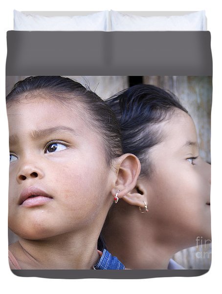 Duvet Cover featuring the photograph Portrait Of Two Panama Girls by Heiko Koehrer-Wagner