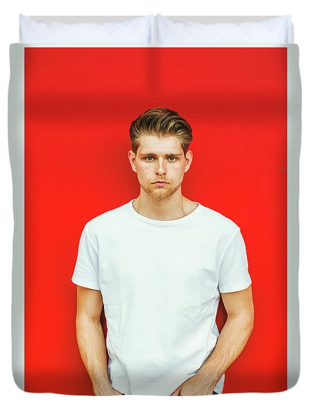 Portrait Of Young Handsome Man Duvet Cover