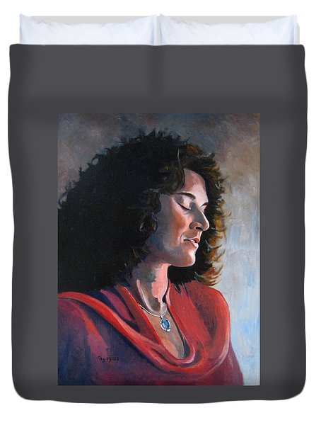 Portrait Of Young Isabelle Duvet Cover by Ray Agius