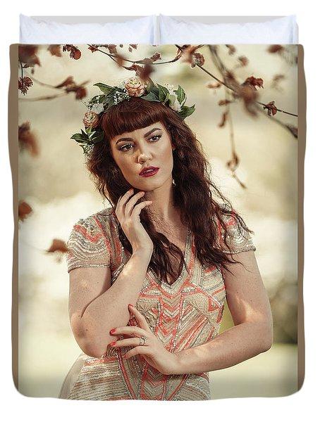 Portrait Of Young Woman Duvet Cover