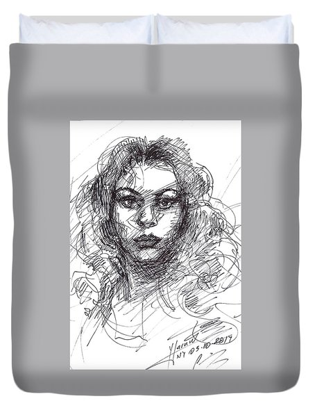 Portrait Sketch  Duvet Cover