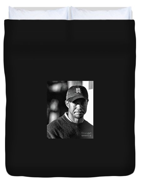 Portrait  Tiger Woods Black White  Duvet Cover