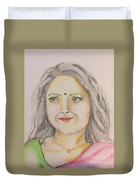 Portrait With Colorpencils 2 Duvet Cover