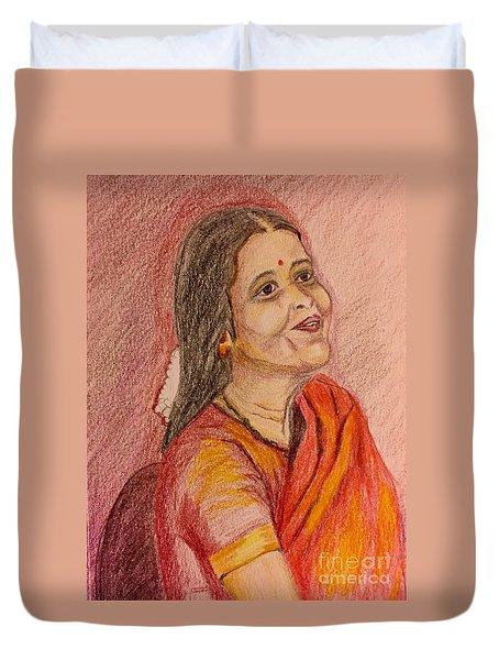 Portrait With Colorpencils Duvet Cover