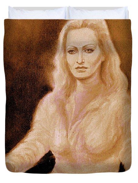 Portrait Woman In Bright Dress Duvet Cover