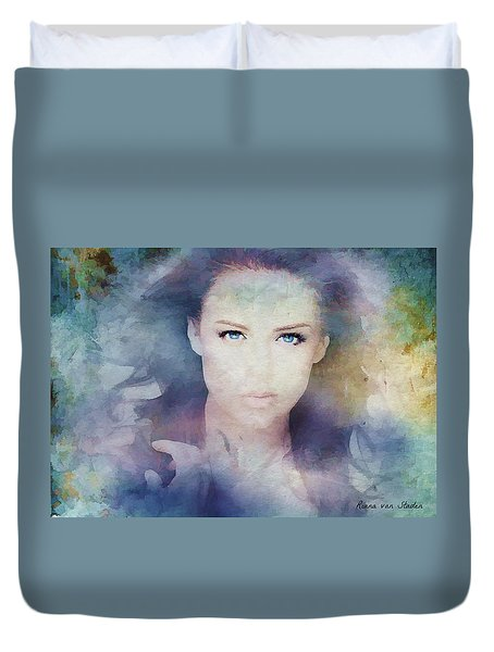 Duvet Cover featuring the digital art Portrait38 by Riana Van Staden