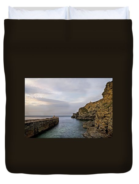 Duvet Cover featuring the photograph Portreath Harbour, Cornwall Uk by Shirley Mitchell