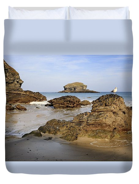 Duvet Cover featuring the photograph Portreath by Shirley Mitchell