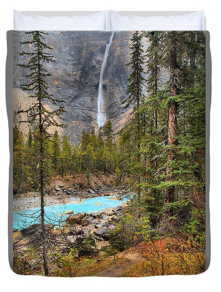 Duvet Cover featuring the photograph Portrait Of Takakkaw Falls by Adam Jewell
