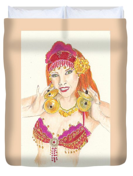 Portrait Of The Artist Playing Zills -- Belly Dancer Self-portrait Duvet Cover