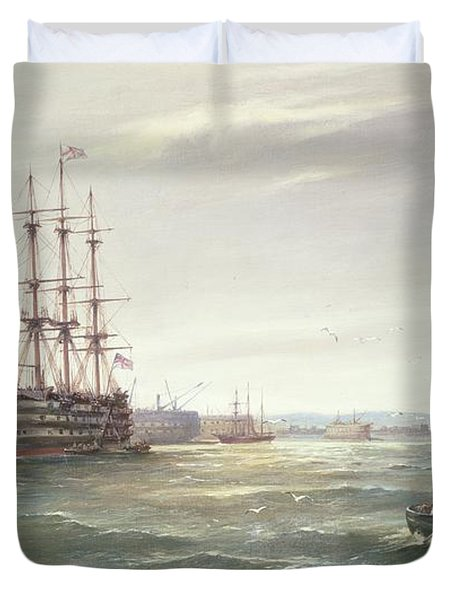 Portsmouth Harbour With Hms Victory Duvet Cover by Robert Ernest Roe