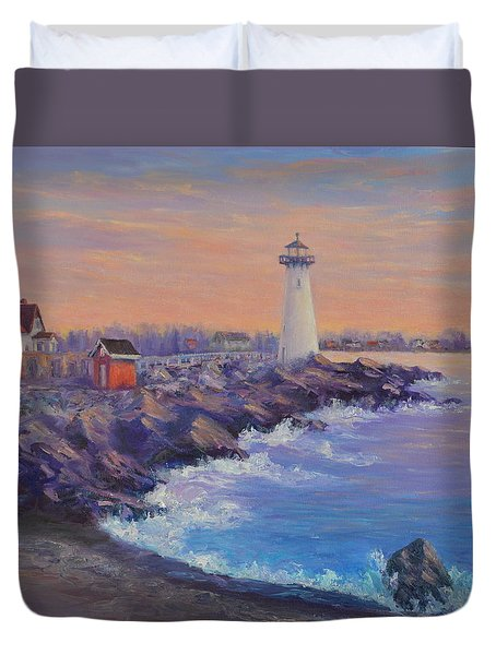 Portsmouth Lighthouse Sunset Peaceful  Coastal Painting Duvet Cover