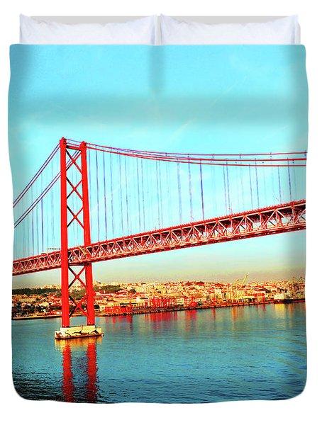 Portugal Lisbon Approaching The 25 De Abril River Bridge Duvet Cover