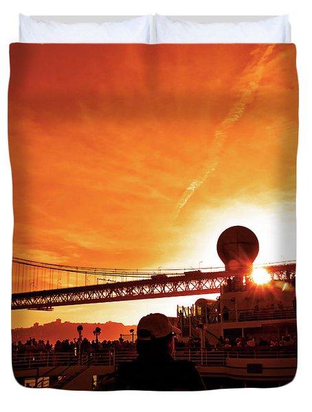Sunset Under The 25 April Bridge Lisbon Duvet Cover