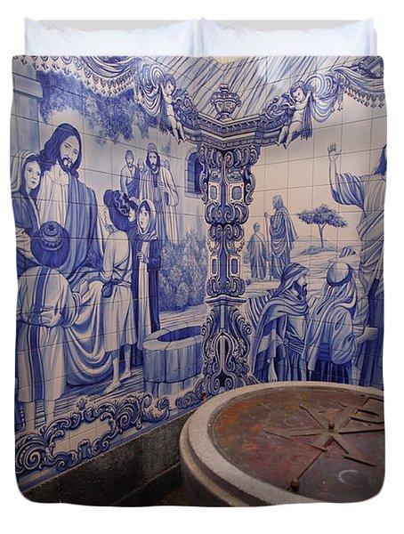 Portuguese Azulejo Mural Duvet Cover by Gaspar Avila